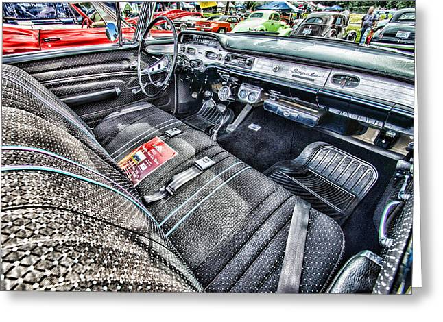 Ron Roberts Photography Greeting Cards - 1958 Chevy Impala Interior Greeting Card by Ron Roberts