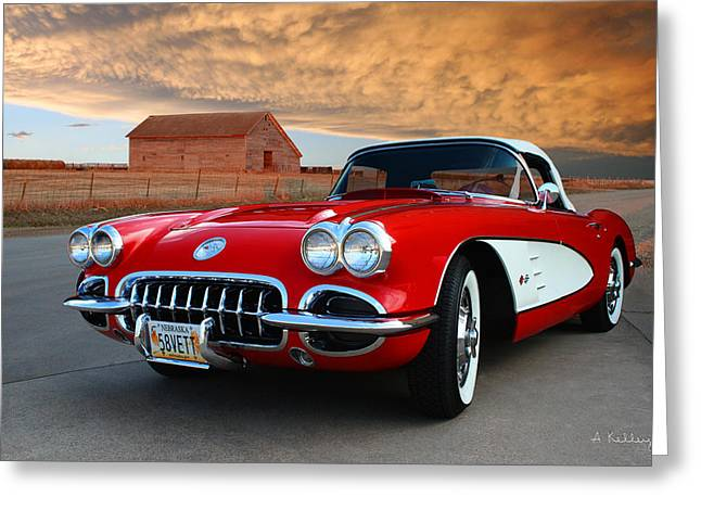 Sheds Greeting Cards - 1958 Corvette Greeting Card by Andrea Kelley
