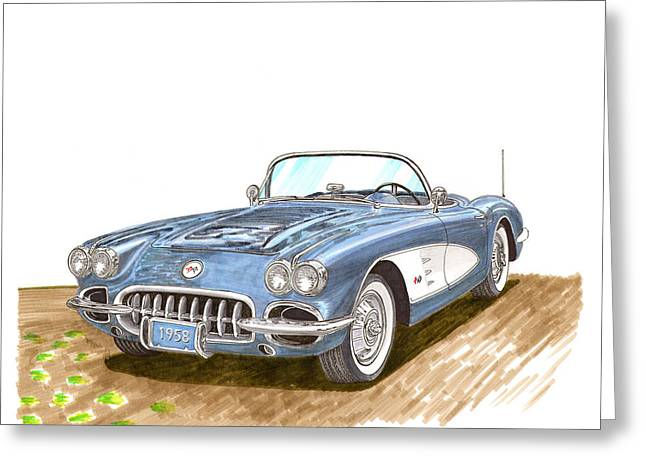 Important Drawings Greeting Cards - 1958 Corvette Roadster Greeting Card by Jack Pumphrey