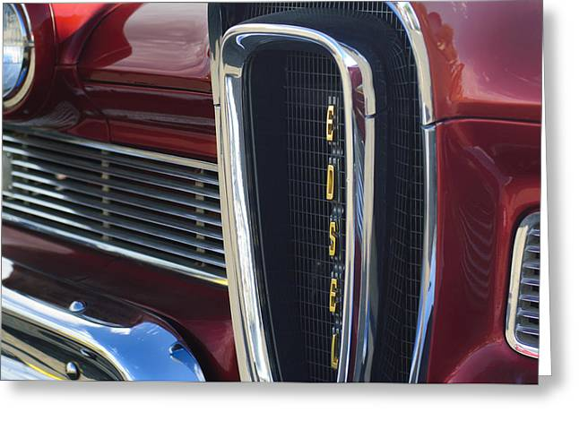 Classic Car Photography Greeting Cards - 1958 Edsel Pacer Grille 2 Greeting Card by Jill Reger