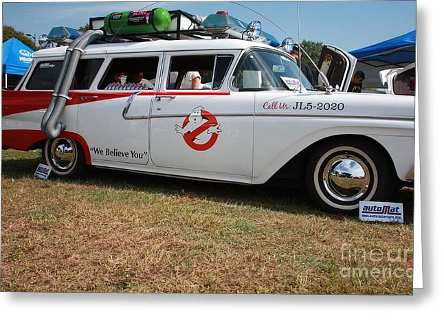 Actual Greeting Cards - 1958 Ford Suburban Ghostbusters Car Greeting Card by John Telfer