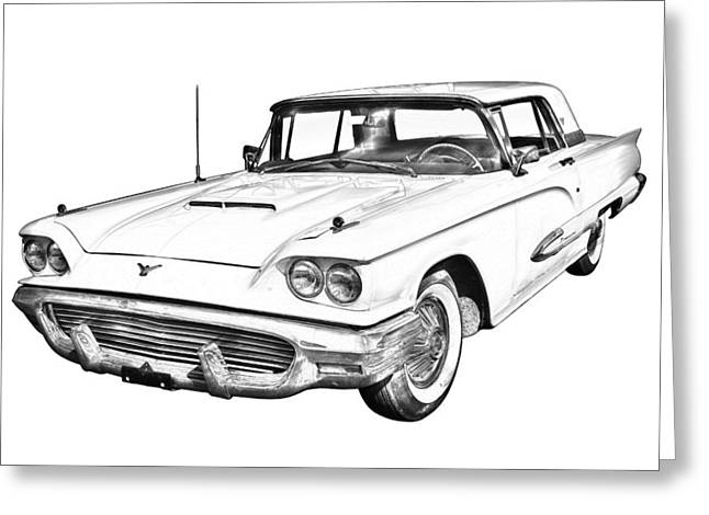 Automotive Illustration Greeting Cards - 1958  Ford Thunderbird Car Illustration Greeting Card by Keith Webber Jr