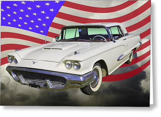 Motor Vehicles Greeting Cards - 1958  Ford Thunderbird With American Flag Greeting Card by Keith Webber Jr