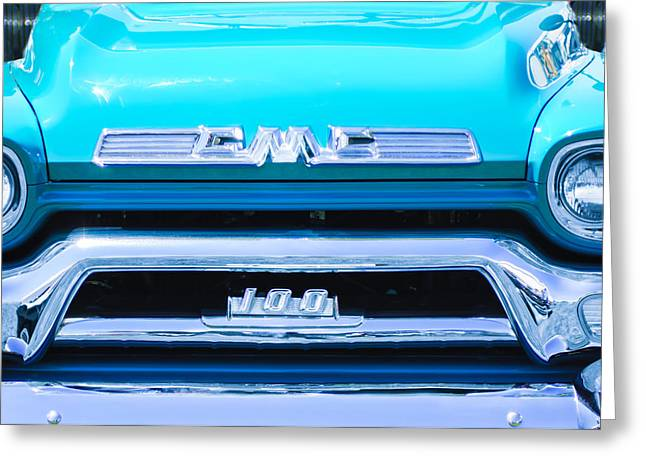 Classic Pickup Truck Greeting Cards - 1958 GMC Series 101-S Pickup Truck Grille Emblem Greeting Card by Jill Reger