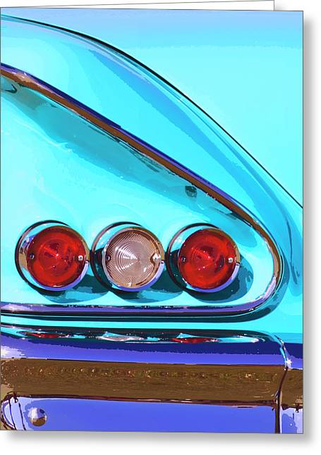 Palm Springs Car Show Greeting Cards - 1958 IMPALA Palm Springs Greeting Card by William Dey
