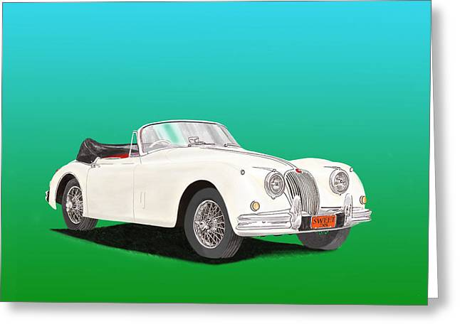 Screen Doors Mixed Media Greeting Cards - 1958 Jaguar X K 150 S cabriolet Greeting Card by Jack Pumphrey