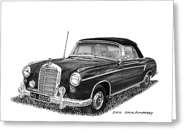 Pen And Ink Framed Prints Greeting Cards - 1958 Mercedes Benz 220S Greeting Card by Jack Pumphrey