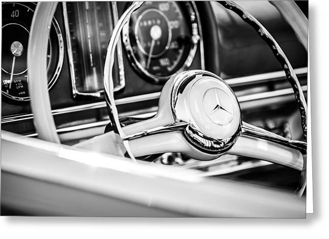 1958 Mercedes-benz 300sl Roadster Steering Wheel -1131bw Greeting Card by Jill Reger