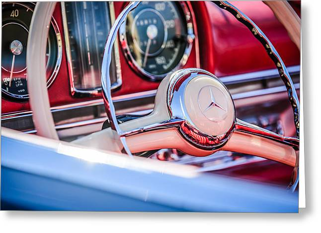 Mercedes Benz 300 Classic Car Greeting Cards - 1958 Mercedes-Benz 300SL Roadster Steering Wheel -1131c Greeting Card by Jill Reger