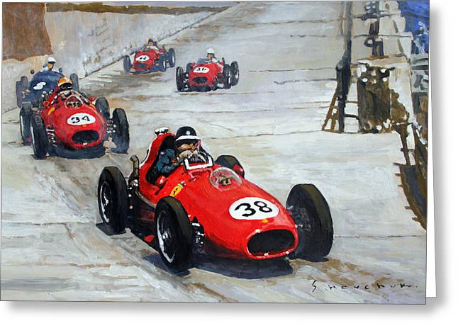 Monaco Greeting Cards - 1958 Monaco GP  Greeting Card by Yuriy Shevchuk