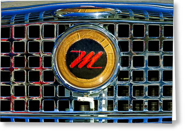 1958 Nash Metropolitan Hood Ornament 3 Greeting Card by Jill Reger