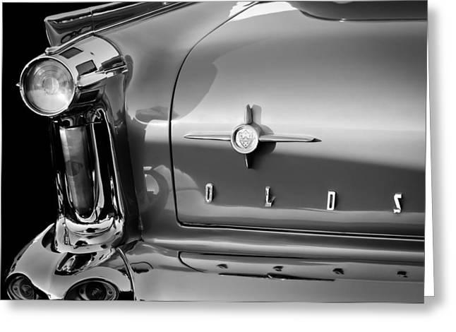Oldsmobile Greeting Cards - 1958 Oldsmobile 98 Taillight Emblem Greeting Card by Jill Reger