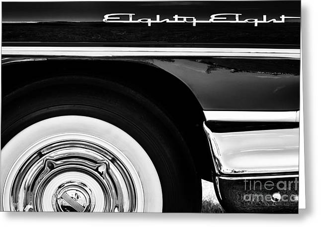 Side Panel Greeting Cards - 1958 Oldsmobile Dynamic 88 Monochrome Greeting Card by Tim Gainey