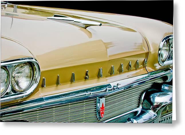 Oldsmobile Greeting Cards - 1958 Oldsmobile Super 88 Grille Emblems - Hood Orament Greeting Card by Jill Reger