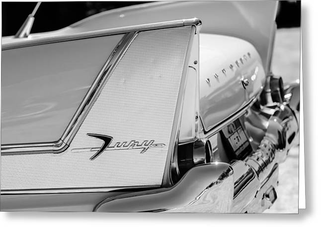 Commandos Greeting Cards - 1958 Plymouth Fury Golden Commando Taillight Emblem -3447bw Greeting Card by Jill Reger