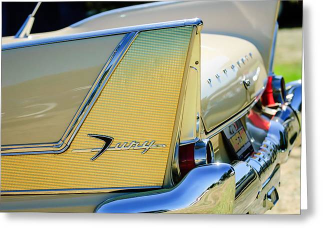 Commandos Greeting Cards - 1958 Plymouth Fury Golden Commando Taillight Emblem -3447c Greeting Card by Jill Reger