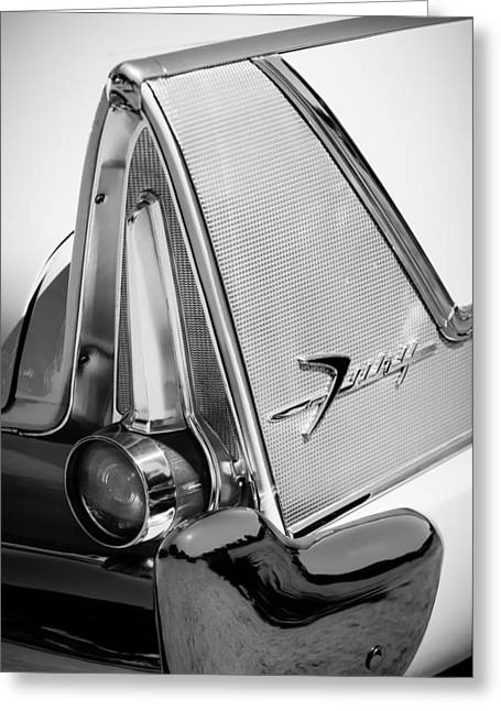 Commandos Greeting Cards - 1958 Plymouth Fury Golden Commando Taillight Emblem -3467bw Greeting Card by Jill Reger