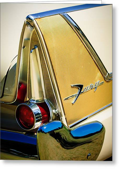 Commandos Greeting Cards - 1958 Plymouth Fury Golden Commando Taillight Emblem -3467c Greeting Card by Jill Reger
