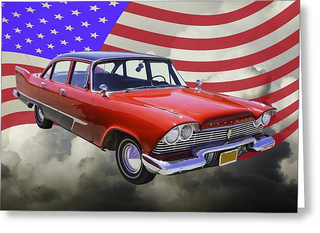 Fury Digital Art Greeting Cards - 1958 Plymouth Savoy Car With American Flag Greeting Card by Keith Webber Jr