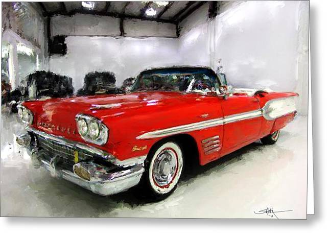 Tire Greeting Cards - 1958 Pontiac Bonneville Convertible Greeting Card by Robert Smith