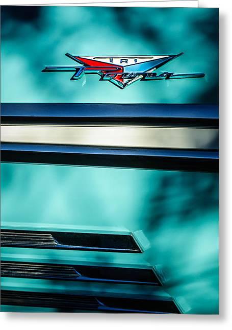 Bonneville Images Greeting Cards - 1958 Pontiac Bonneville Tri Power Emblem Greeting Card by Jill Reger