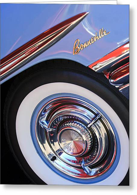 Bonneville Pictures Greeting Cards - 1958 Pontiac Bonneville Wheel Emblem Greeting Card by Jill Reger