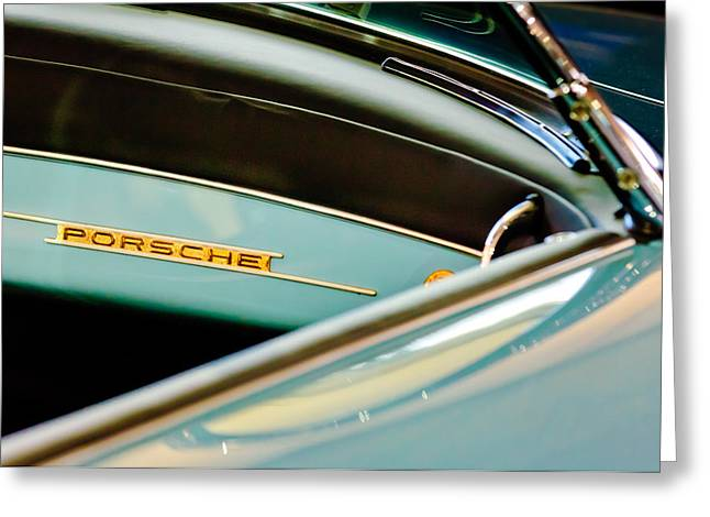 Dash Greeting Cards - 1958 Porsche 356 A Speedster Dash Emblem Greeting Card by Jill Reger