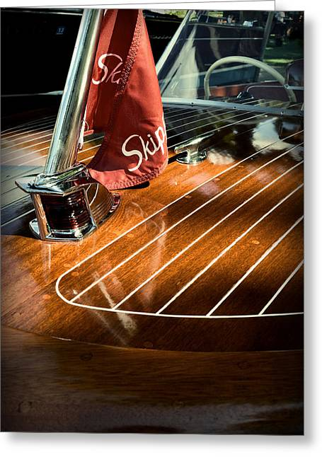 Wooden Ship Greeting Cards - 1958 Skipper Craft Hull Greeting Card by Michelle Calkins
