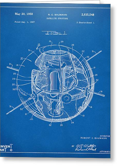 Office Space Greeting Cards - 1958 Space Satellite Structure Patent Blueprint Greeting Card by Nikki Marie Smith