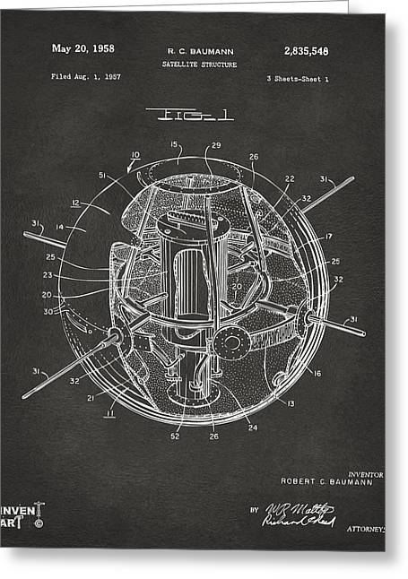 Office Space Greeting Cards - 1958 Space Satellite Structure Patent Gray Greeting Card by Nikki Marie Smith