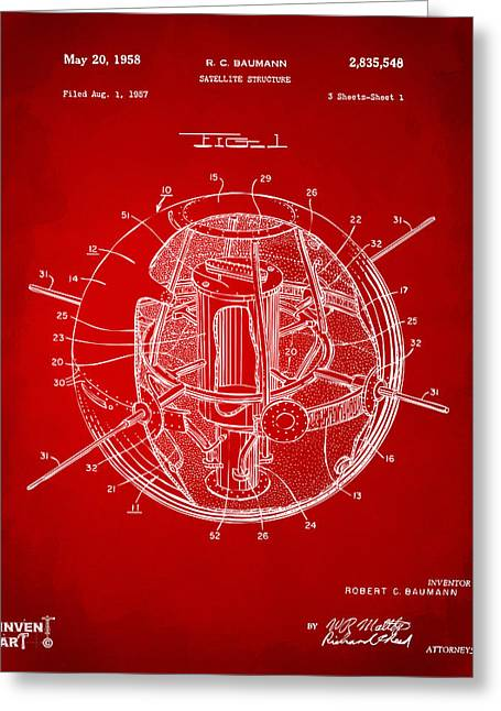 Office Space Greeting Cards - 1958 Space Satellite Structure Patent Red Greeting Card by Nikki Marie Smith