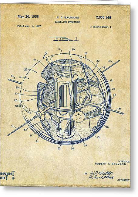 Office Space Greeting Cards - 1958 Space Satellite Structure Patent Vintage Greeting Card by Nikki Marie Smith