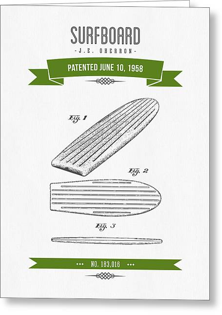 Surfboard Greeting Cards - 1958 Surfboard Patent Drawing - Retro Green Greeting Card by Aged Pixel