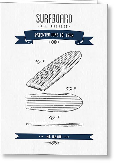 Surfboard Greeting Cards - 1958 Surfboard Patent Drawing - Retro Navy Blue Greeting Card by Aged Pixel