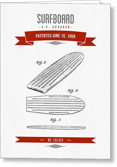 Surfboard Greeting Cards - 1958 Surfboard Patent Drawing - Retro Red Greeting Card by Aged Pixel
