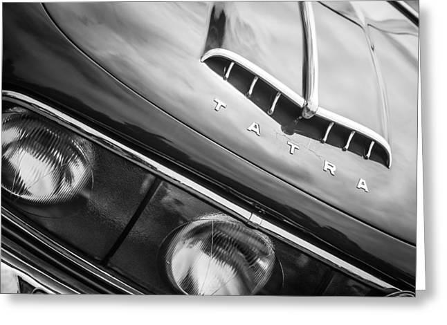 Saloons Greeting Cards - 1958 Tatra T603 Aerodynamic Saloon Grille Emblem -0144bw Greeting Card by Jill Reger