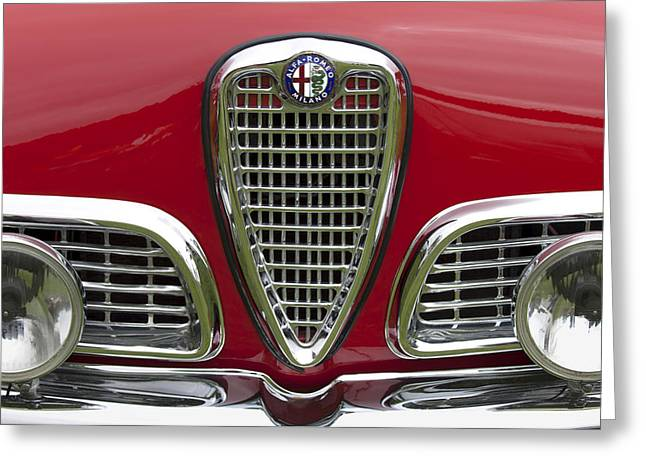 Beach Photograph Greeting Cards - 1959 Alfa Romeo Giulietta Sprint Grille Greeting Card by Jill Reger