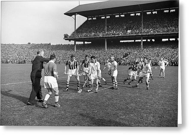 Hurl Greeting Cards - 1959 All Ireland Hurling Final Replay Greeting Card by Irish Photo Archive