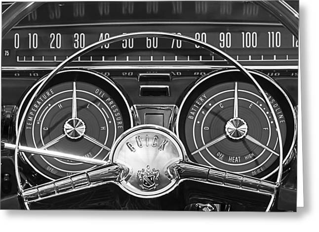 Wheels Greeting Cards - 1959 Buick Lasabre Steering Wheel Greeting Card by Jill Reger