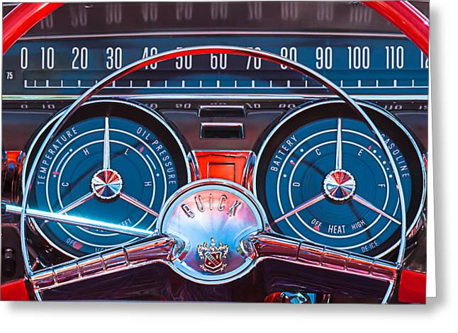 Steering Wheel Greeting Cards - 1959 Buick Lesabre Steering Wheel Greeting Card by Jill Reger