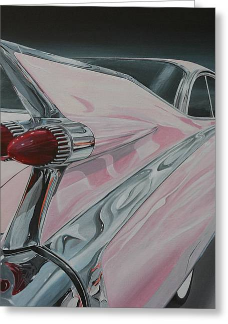 Caddy Paintings Greeting Cards - 1959 Cadillac Greeting Card by Branden Hochstetler