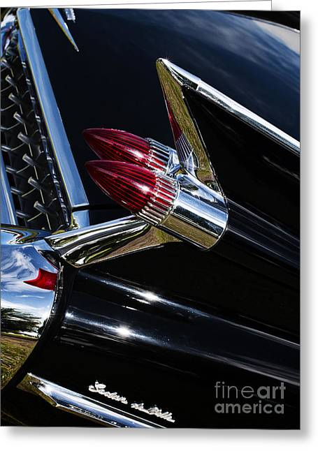 General Motors Company Greeting Cards - 1959 Cadillac Sedan De Ville Bullet Tail Lights Greeting Card by Tim Gainey