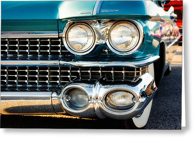 Blue Classic Car Greeting Cards - 1959 Cadillac Sedan Deville Series 62 Grill Greeting Card by Jon Woodhams