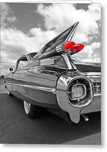 1959 Cadillac Tail Fins Greeting Card by Gill Billington