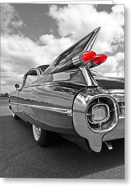 Geometric Artwork Greeting Cards - 1959 Cadillac Tail Fins Greeting Card by Gill Billington