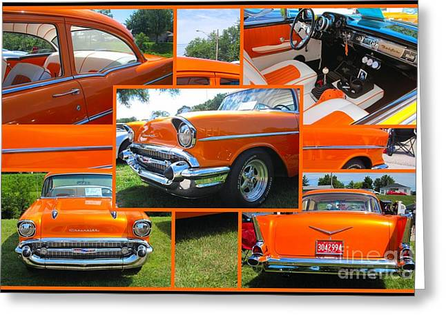 Celebration Art Print Digital Art Greeting Cards - 1959 Chevrolet 210 Collage Greeting Card by Margaret Newcomb