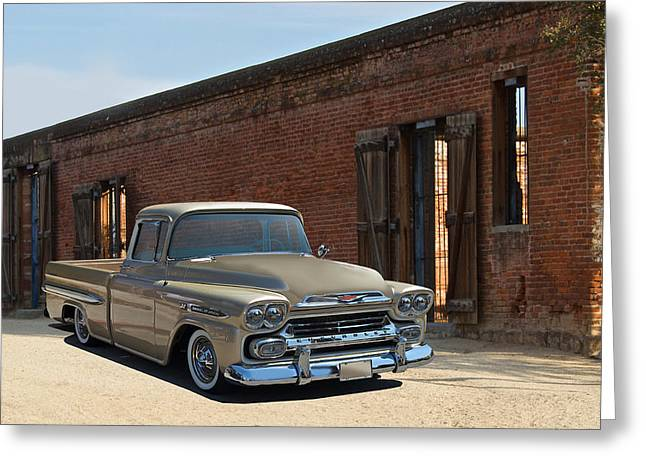 Slam Photographs Greeting Cards - 1959 Chevrolet Apache Greeting Card by Dave Koontz