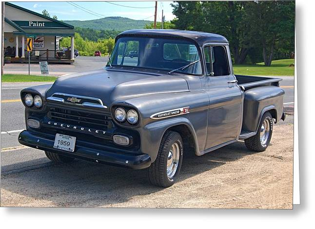 1950-1959 Greeting Cards - 1959 Chevrolet Apache Pickup Truck Greeting Card by Sharon L Stacy