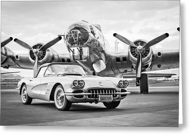 1959 Chevrolet Corvette - B-17 Bomber Greeting Card by Jill Reger