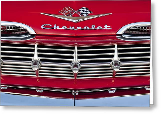 Vintage Hood Ornament Greeting Cards - 1959 Chevrolet Grille Ornament Greeting Card by Jill Reger